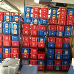 The wall of LEGO tubs.